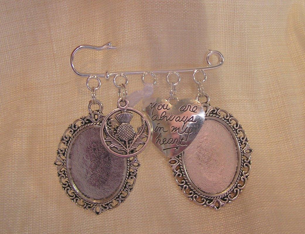 Scottish Wedding Kilt Pin - double picture frame